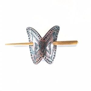 Vintage Tooled Leather Butterfly Barrette